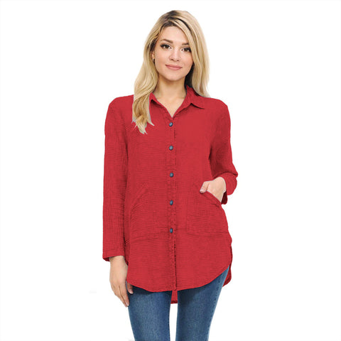 Focus Fashion Button Front Waffle Shirt/Jacket in Brick Red - LW-110-BRK - Size L & XL Only