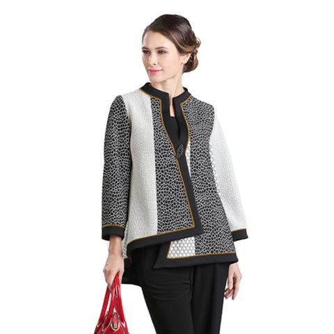 IC Collection Mixed Media Asymmetric Jacket in Multi - 2076J-YLW