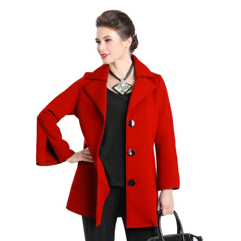 IC Collection Button Front Jacket in Red - 3304J-RD - Size M Only