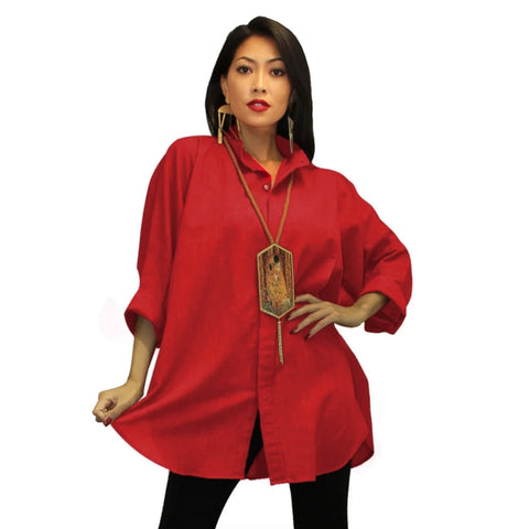 Dilemma Fashions Solid Big Shirt in Red - GB 5001-RD