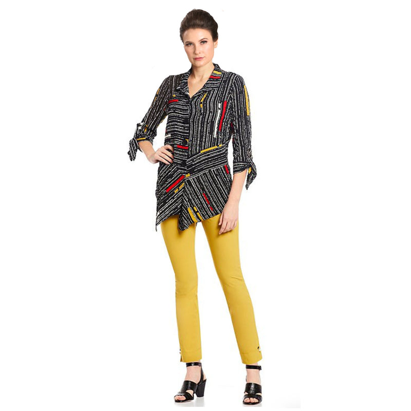 IC Collection Striped Shirt w/ Handkerchief Hem in Multi - 1571B-BLK