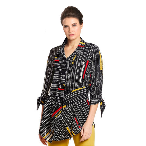 Just In! IC Collection Striped Button Front Shirt in Multi - 1571B-BLK