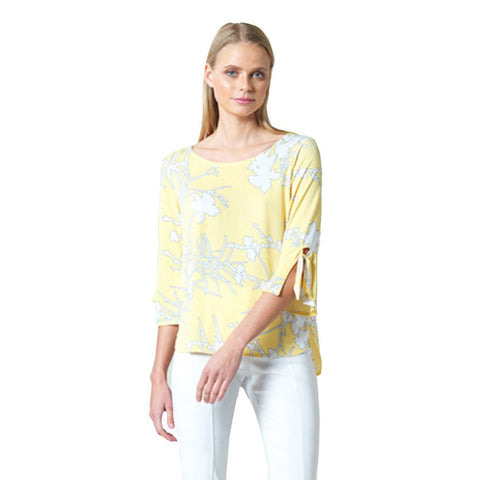 Just In! Clara Sunwoo Floral Print Tie-Cuff Top in Yellow/White - T16P1