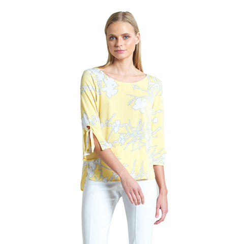 Clara Sunwoo Floral Print Tie-Cuff Top in Yellow/White - T16P1