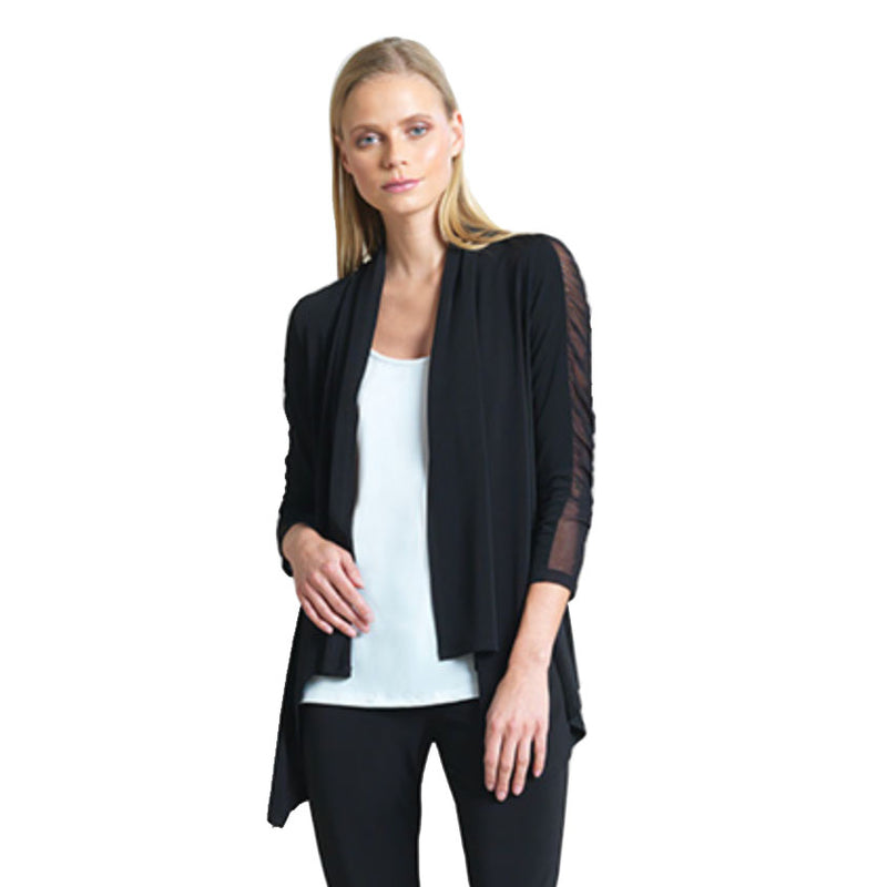 Clara Sunwoo Ruched Mesh Sleeve Cardigan - CA66-BLK - Size L Only