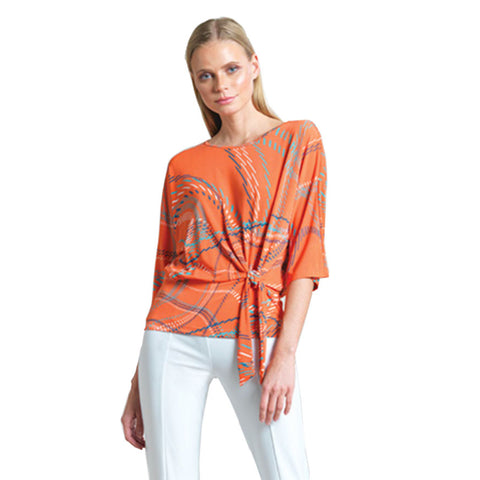 Clara Sunwoo Dash Line Swirl Print Side Tie Top - Coral - T207P3 - Sizes M & 1X Only