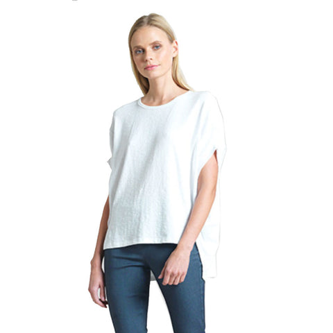 Just In! Solid Cotton Stretch Knit Tunic Top in White - TU199-WHT
