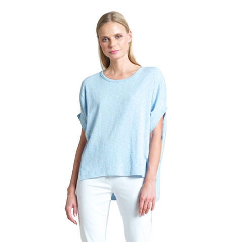 Solid Cotton Stretch Knit Tunic Top in Sky Blue - TU199-BLU - Size XS & 1X Only