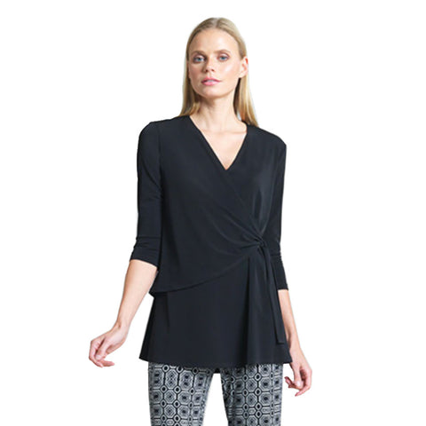 Clara Sunwoo V-Neck Side Wrap Tunic in Black - TU2-BLK