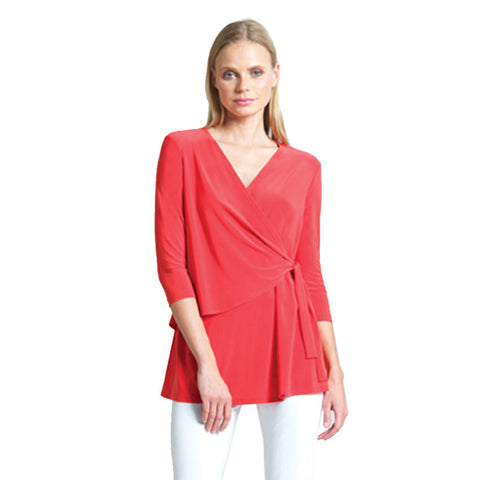 Clara Sunwoo V-Neck Side Wrap Tunic in Coral - TU2-COR
