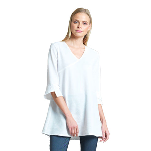 Clara Sunwoo Textured V-Neck Tulip Sleeve Tunic in White - TU4E-WHT