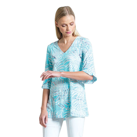 Clara Sunwoo Tropical Print V-Neck Tunic in Turquoise - TU4P2-TQ
