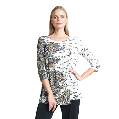 Clara Sunwoo Geo-Animal Print Tunic with a Front Twist  - TU60P-TPE