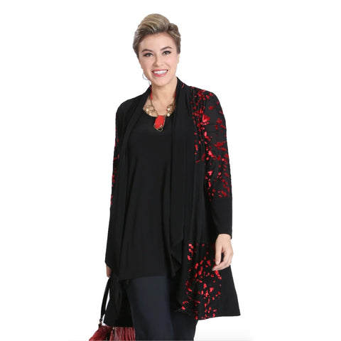 IC Collection Mixed Media Cardigan of Velvet Jacquard & Soft Knit - Black/Red - 3544J