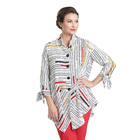 Just In! IC Collection Striped Button Front Shirt in Multi - 1571B-WHT