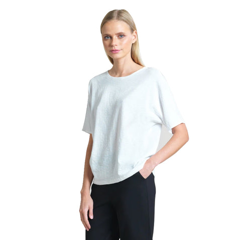 Clara Sunwoo Cotton Knit Keyhole Back Top in White - T20C-WHT