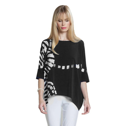 Clara Sunwoo Tipped Hem Track Print Top in Black/White - T98P-BLK - Size S Only