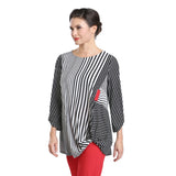 Just In! Mixed Stripe Twist Hem Tunic in Black/White/Red - 1548T
