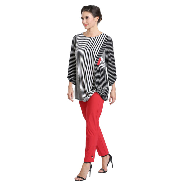 IC Collection Striped Twist-Hem Tunic in Black/White/Red - 1548T