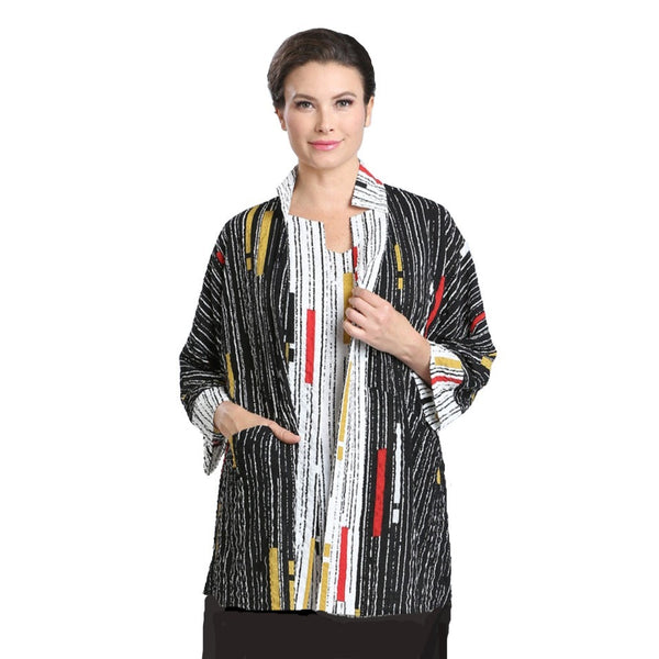 IC Collection Mixed-Stripe Open Front Kimono Cardigan/Jacket - 2346J - Sizes M & L