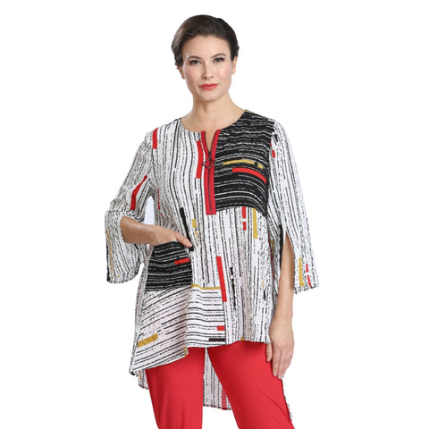 IC Collection Mixed Stripe High-Low Tunic in Multi - 1597T-WHT