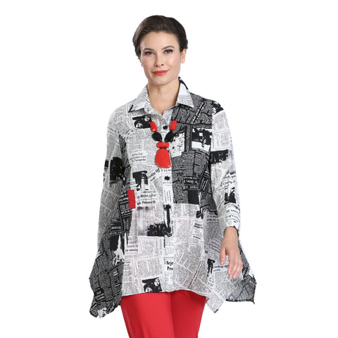 Just In! Newspaper Print Crinkle Shirt in White/Black - 1568J