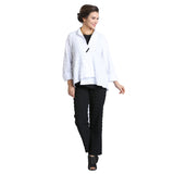 IC Collection Textured Asymmetric Jacket in White - 1501J-WHT