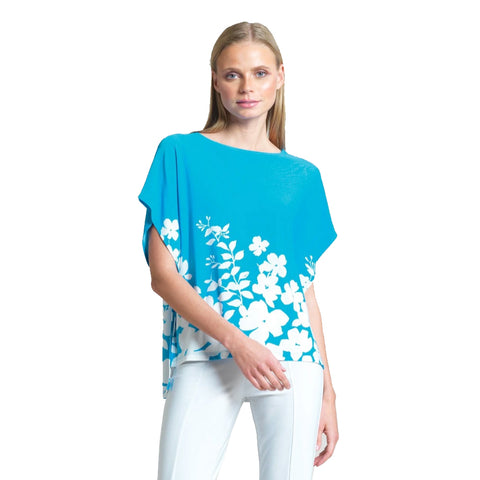 Just In! Clara Sunwoo Floral Print Hi-Low Modern Top - Turquoise/White - T51P-TQ