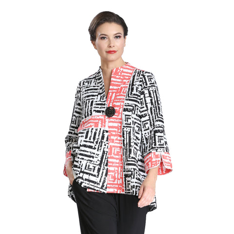 IC Collection Geometric Two-Tone One-Button Jacket - 2306J