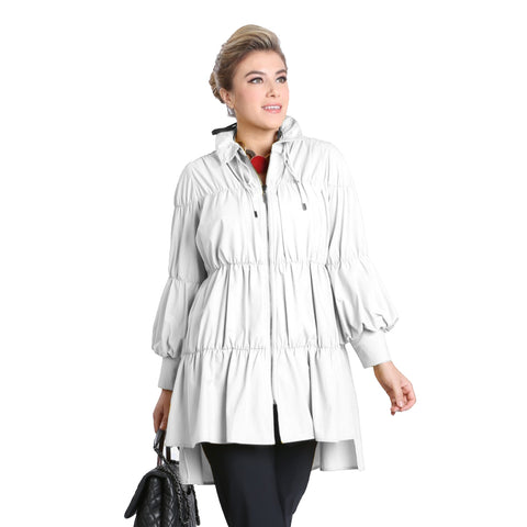 IC Collection Zip Front Parachute Jacket in White - 8420J-WHT