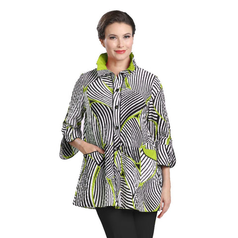 Just In! Mixed Stripe Button Front Shirt in Lime/White & Black - 2342J-LME - Sizes S, M, & XXL