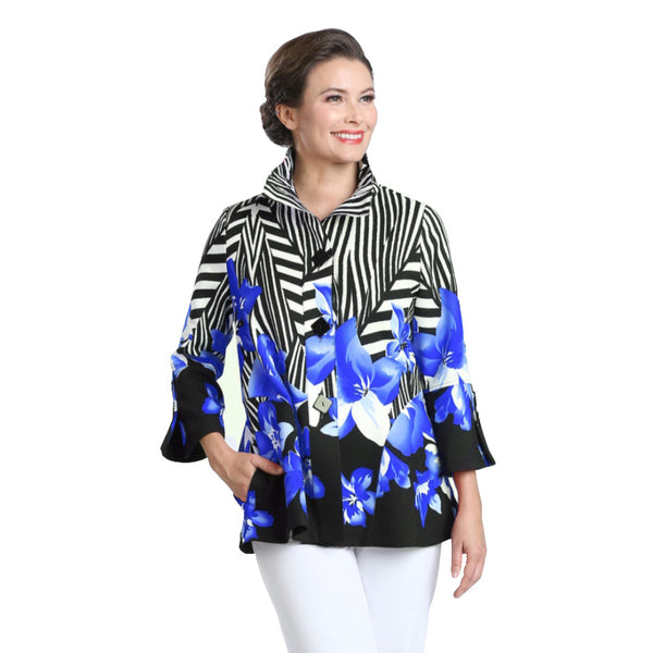IC Collection Floral-Stripe Jacket in Blue/White/Black  - 2368J-BLU - Sizes XL & XXL