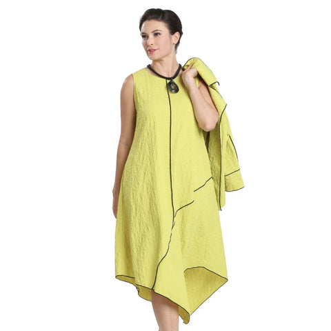 IC Collection Asymmetric Midi Dress w/Contrast Piping in Lime - 1441D-LIME