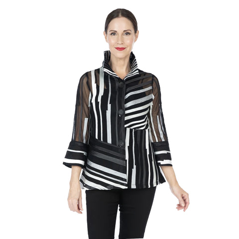 Damee Mixed Stripe Soutache Jacket in Silver/Black ♥ 2328-SLV