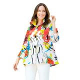 Damee Abstract Print Button Front Jacket in Coral/Multi  - 4615-CRL