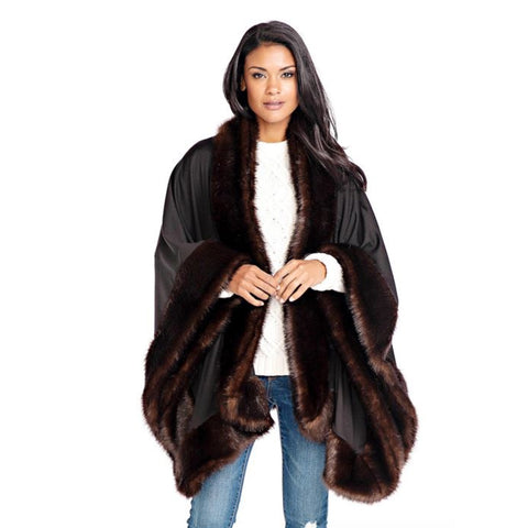 Fabulous Furs Cozy Sable Faux-Fur Trimmed Shawl - 16135-SBL