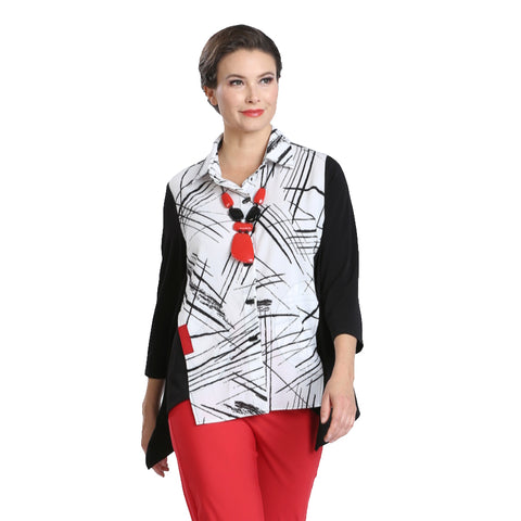 IC Collection Mixed Print Button Front Shirt- 2303B-WHT