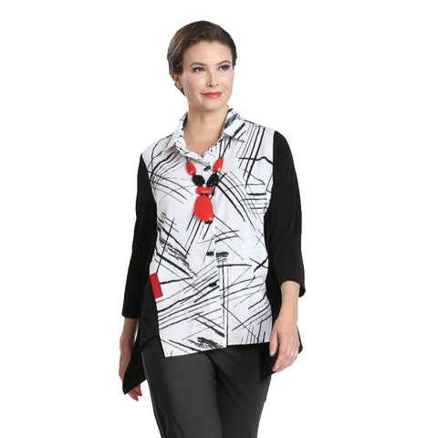 IC Collection Mixed Print & Solid Button Front Shirt- 2303B-WHT