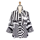 Damee Mixed Stripe Button Front Short Jacket in White/Black - 4631-WHT
