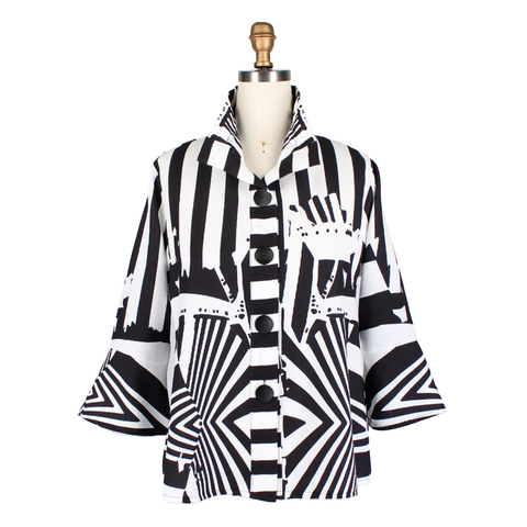 Damee Zebra Stripe Jacket in Black/White - 4631