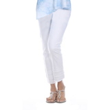 "Mesmerize ""Oscar"" Pull-On Ankle Pants w/Frayed Hem in White - OSCAR-WT"