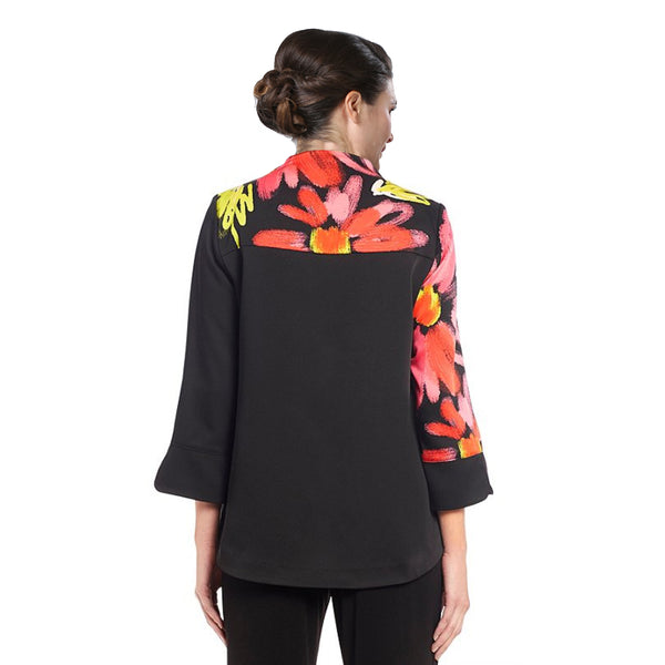 IC Collection Abstract Floral-Print Jacket - 2341J-BLK
