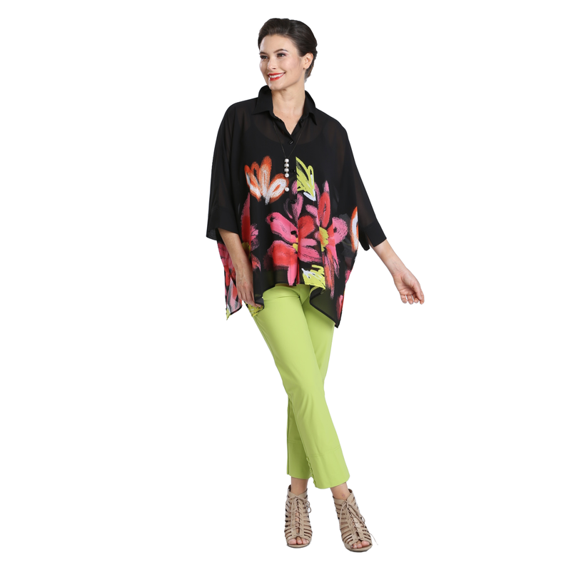 IC Collection Sheer Floral-Print Button Front Blouse - 2337B