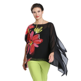 IC Collection Floral Print Chiffon Poncho in Multi/Black - 1573T