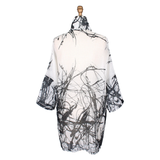 Damee Abstract Semi-Sheer Long Jacket in White/Black - 4608-WHT - Size M Only