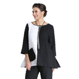 IC Collection Fit & Flare Textured Tunic in Black & White - 2331T