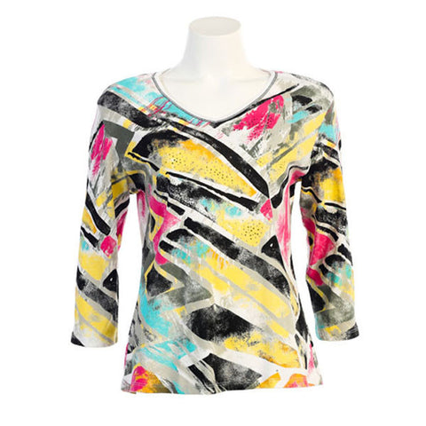 "Jess & Jane ""Shapes of Art"" Cotton Top 15-891WT - Size M Only"