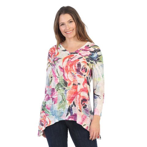 "Jess & Jane ""Sonata"" Floral Print V-Neck Burnout Tunic Top - 48-1403"