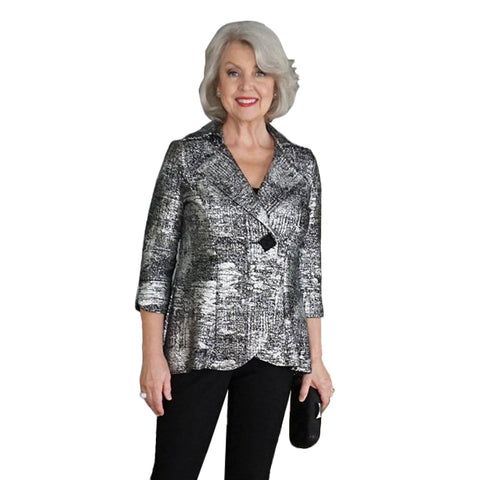 IC Collection Holiday Sparkle Fitted Jacket in Silver - 2966J-SLV - Sizes M, L & XL Only