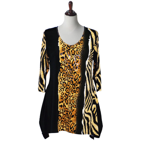 "Valentina Signa Tunic ""Leopard Lady""  Black and Multi - 11375"
